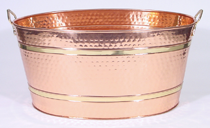 Oval Eleven Gallon Hammered Copper Beverage Tub