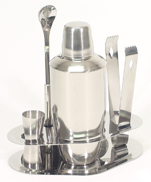 Five Piece Polished Stainless Steel Bar Set