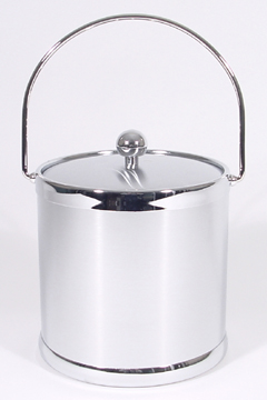 Brushed Chrome Insulated Ice Bucket with Bale Handle