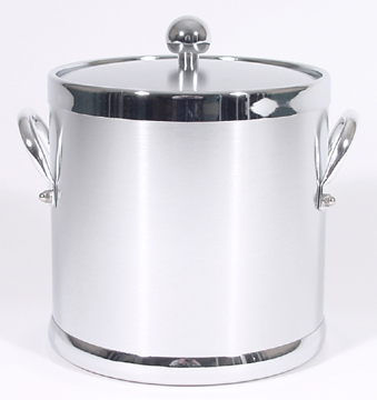 Brushed Chrome Insulated Ice Bucket With Side Handles Ice