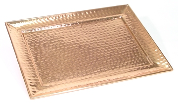"13"" x 18"" Hammered Solid Copper Serving Tray"