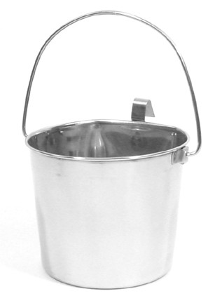 6 Quart Flat Sided Stainless Pail with Hook