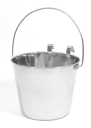 9 Quart Flat Sided Stainless Steel Pail with Hook