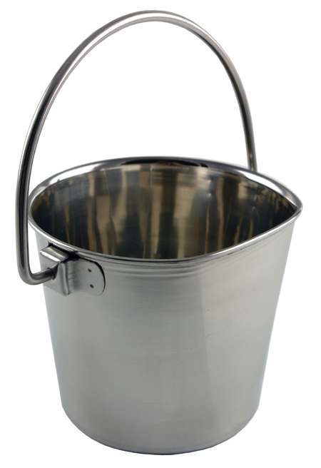 6 Quart Flat Sided Stainless Steel Pail without Hook