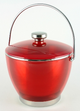 Red Colored Acrylic and Stainless Ice Bucket