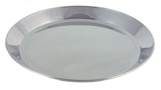 "14"" Diameter Polished Stainless Steel Bar Tray"