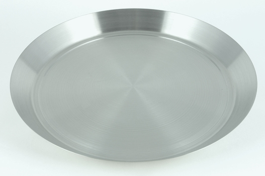 "14"" Diameter Brushed Stainless Steel Bar Tray"
