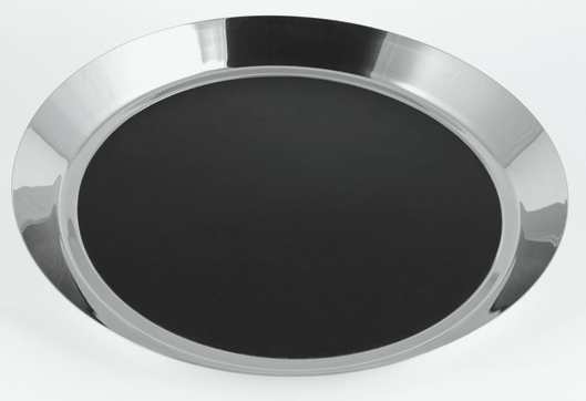 "14"" Diameter Polished Bar Tray with Black Insert"
