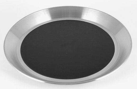 "14"" Diameter Brushed Stainless Bar Tray with Black Insert"
